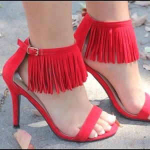 Shoes - Red Fringe Heels!